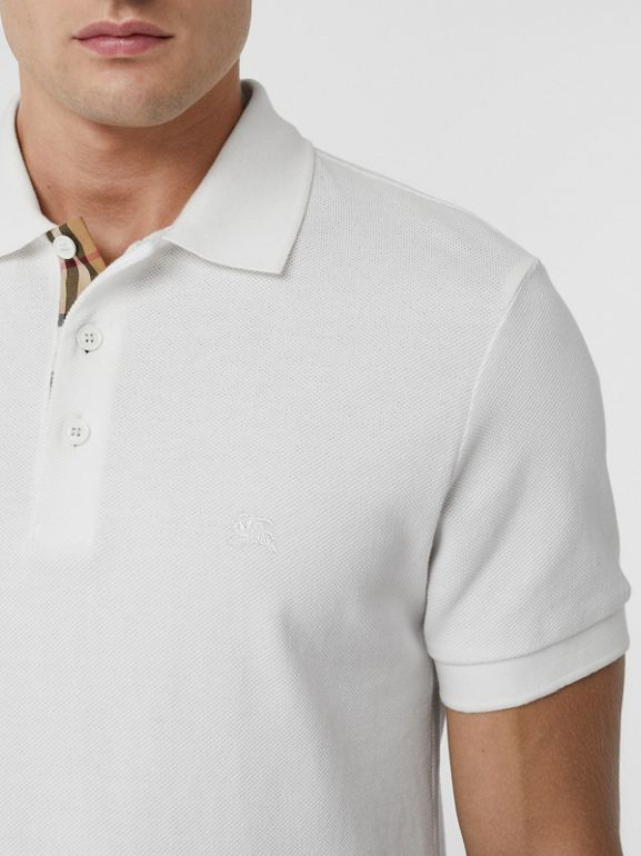Check Placket Cotton Polo Shirt in White - Men | Burberry - cell image 1