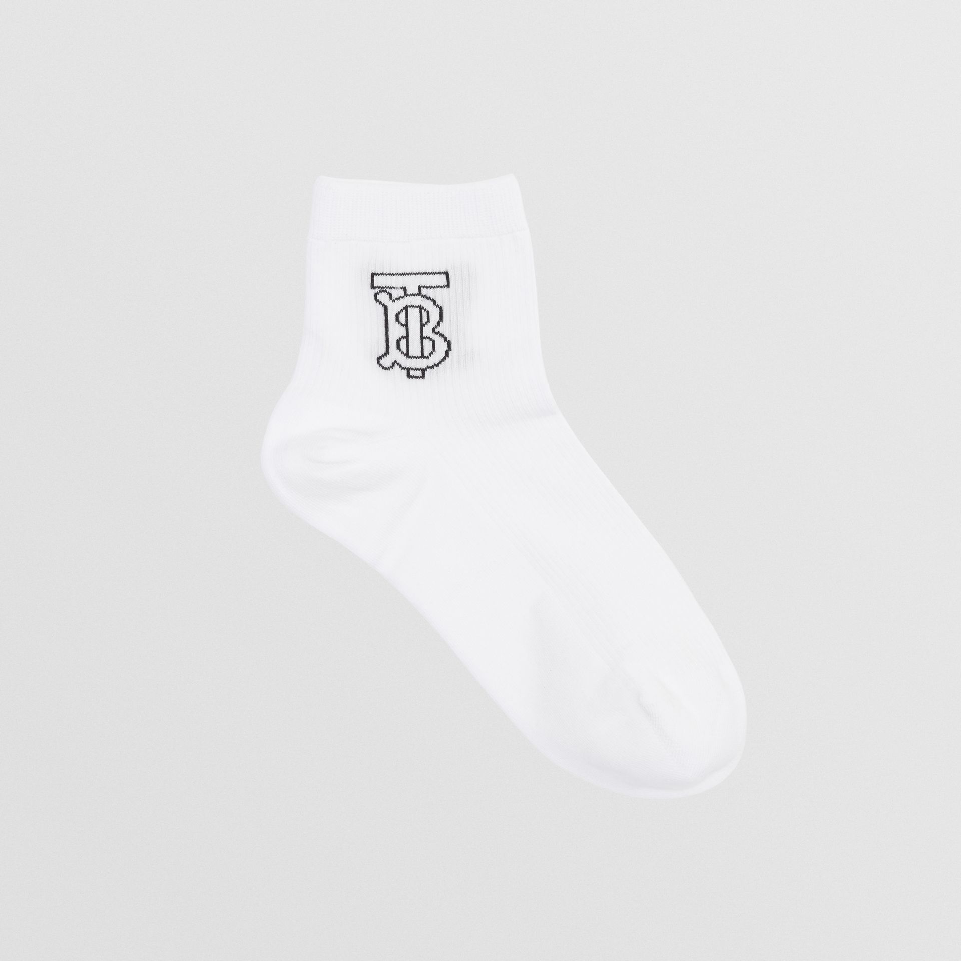 Monogram Intarsia Socks in White - Women | Burberry - gallery image 0