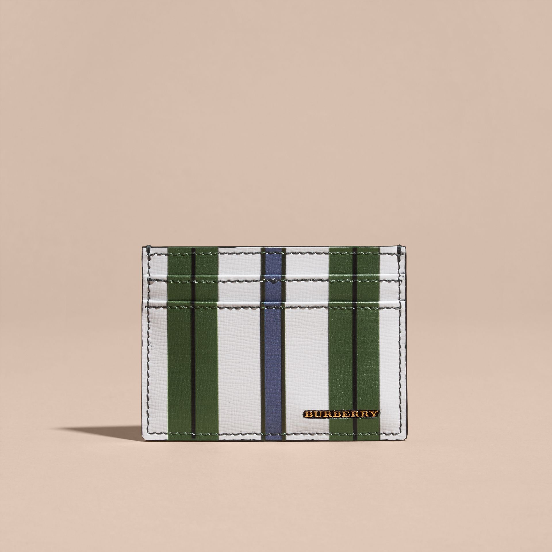 Olive green Pyjama Stripe London Leather Card Case Olive Green - gallery image 6