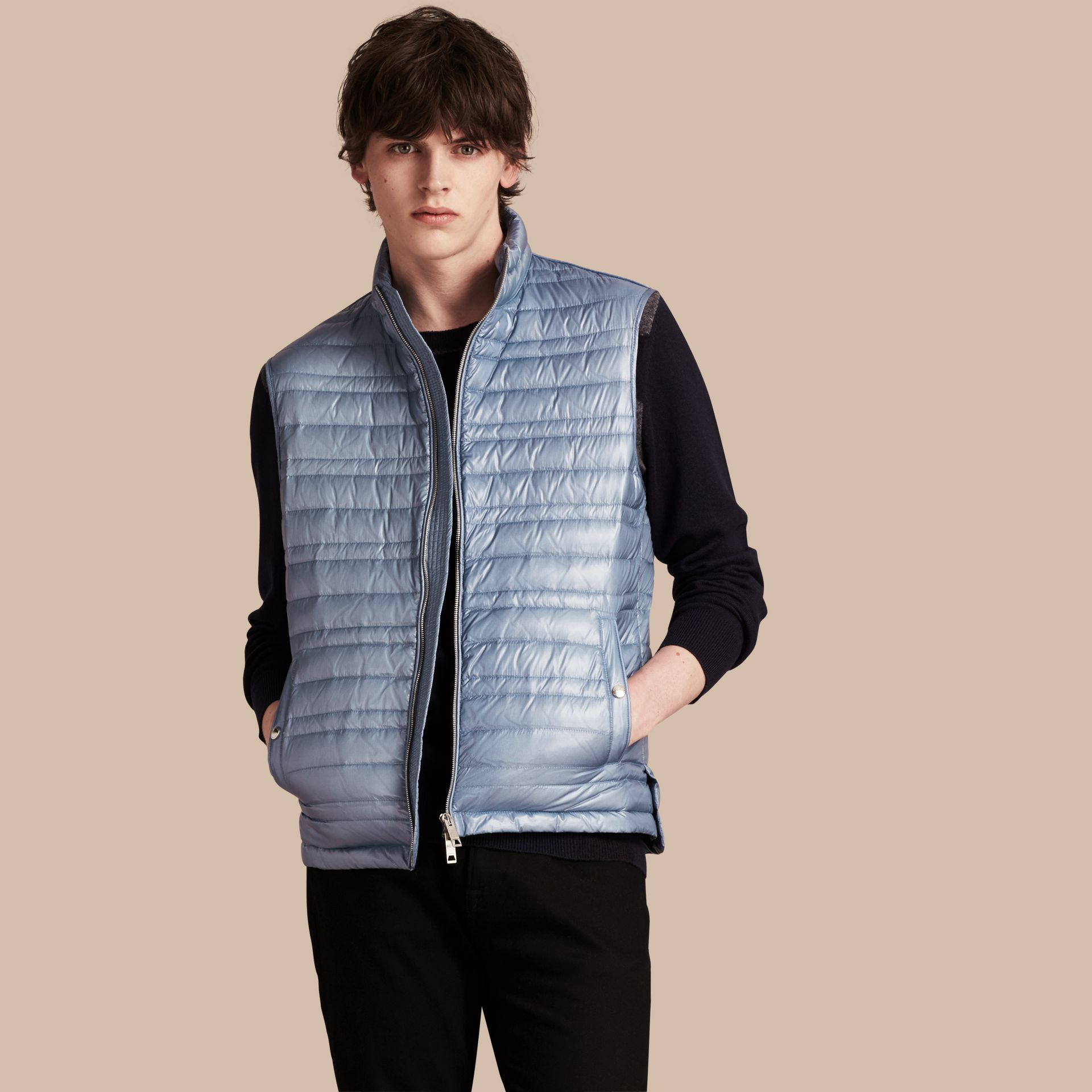 Pale blue Lightweight Down-filled Gilet - gallery image 1
