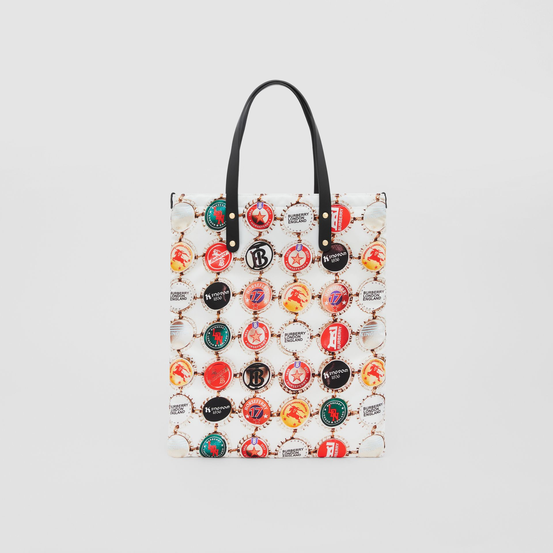 Bottle Cap Print Nylon Tote Bag in Black | Burberry - gallery image 0