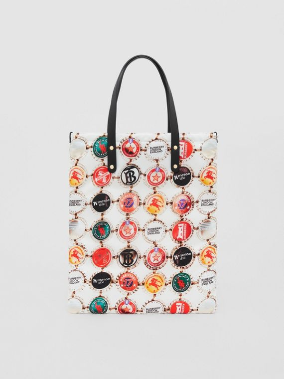 Bottle Cap Print Nylon Tote Bag in Black