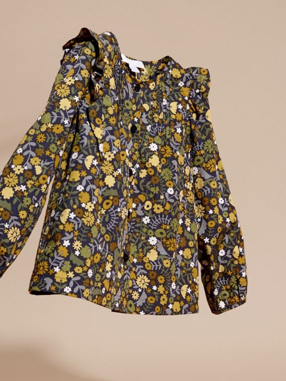 Dusty citrine Floral Print Cotton Shirt with Ruffle Detail Dusty Citrine - cell image 2