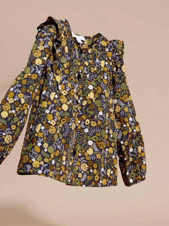 淡灰茶晶色 褶飾細節花朵印花棉質襯衫 淡灰茶晶色 - cell image 2