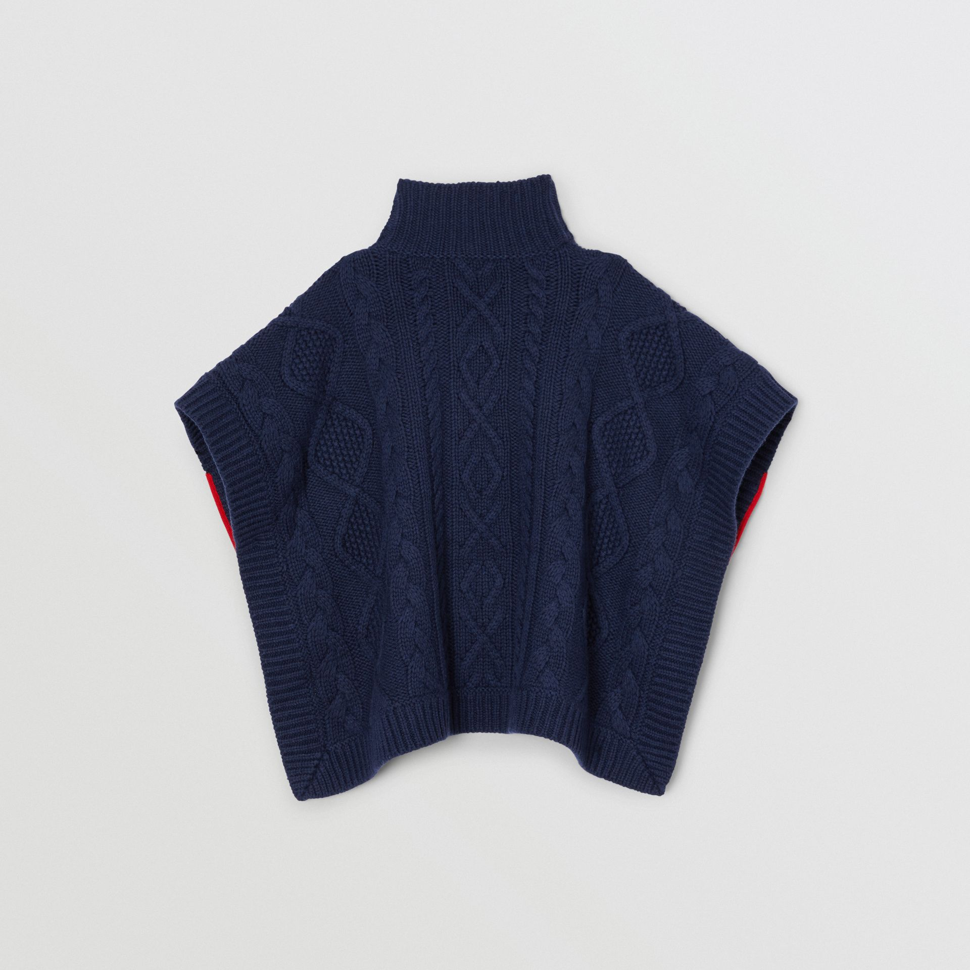Logo Panel Cable Knit Wool Cashmere Poncho in Navy | Burberry Singapore - gallery image 2