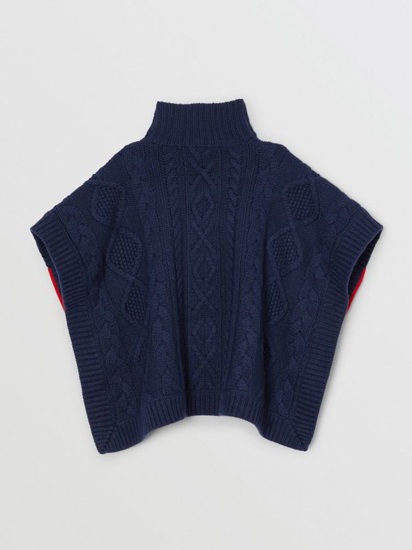 Logo Panel Cable Knit Wool Cashmere Poncho in Navy | Burberry Singapore - cell image 2