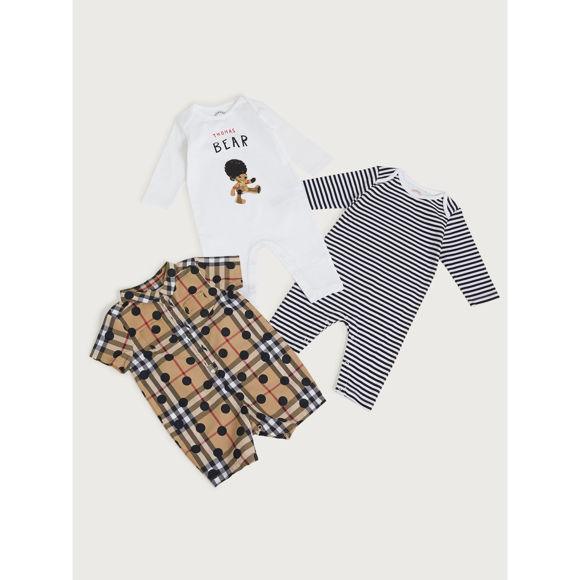 Cotton Three-piece Baby Gift Set in Navy | Burberry - gallery image 0