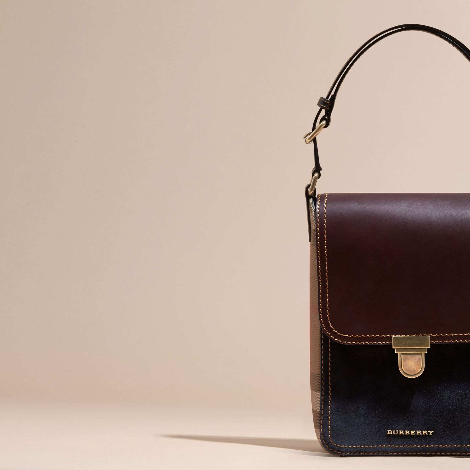 Wine The Small Satchel in Suede and House Check - gallery image 7