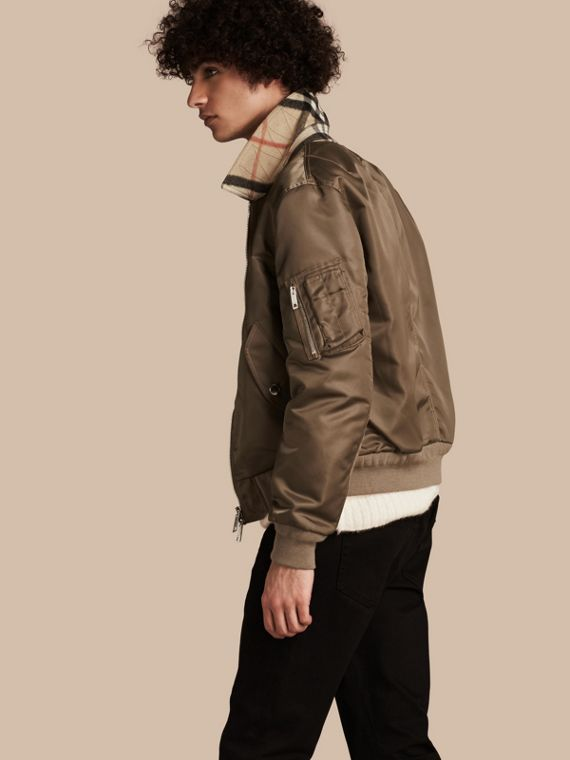 Satin Bomber Jacket with Check Undercollar Dark Taupe
