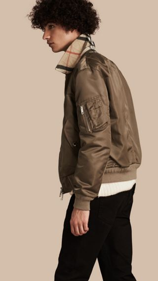 Satin Bomber Jacket with Check Undercollar