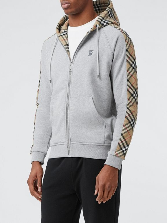 Vintage Check Panel Cotton Hooded Top in Pale Grey Melange - Men | Burberry - cell image 1