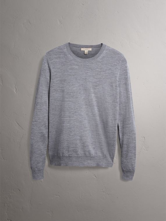 Check Detail Merino Wool Crew Neck Sweater in Mid Grey Melange - Women | Burberry - cell image 3