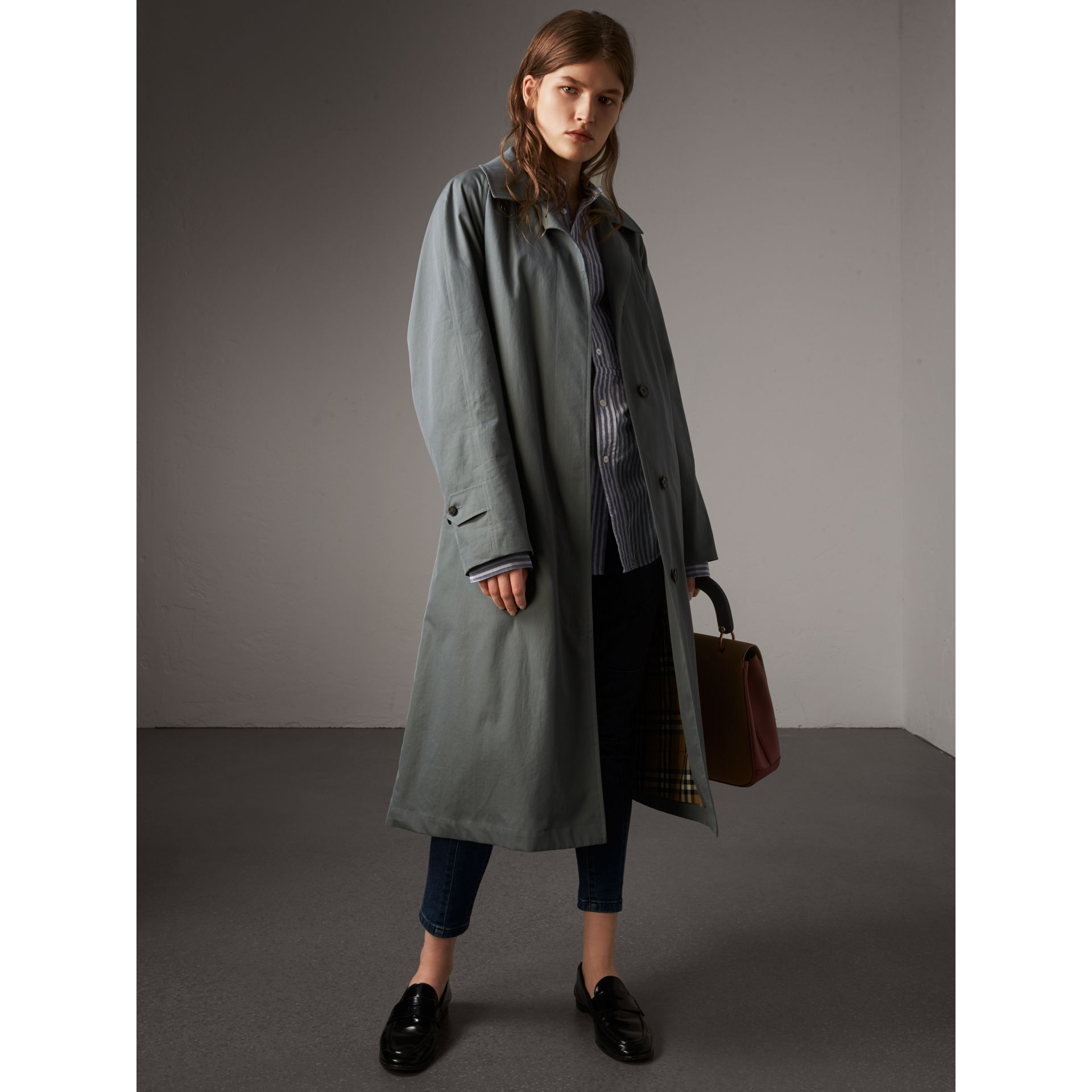The Brighton – Extra-long Car Coat in Dusty Blue - Women | Burberry Canada - gallery image 6