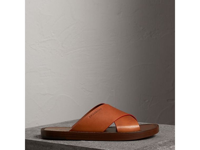 Contrast Detail Leather Sandals in Amber - Men | Burberry - cell image 4