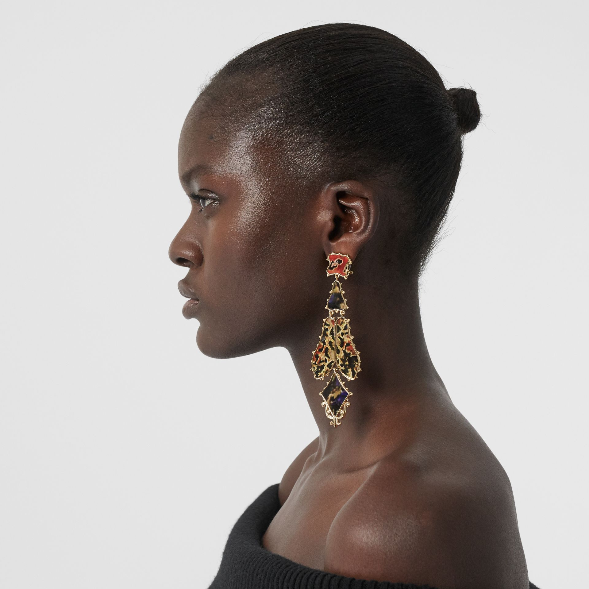 Resin and Gold-plated Drop Earrings in Light Gold/agata - Women | Burberry Australia - gallery image 2