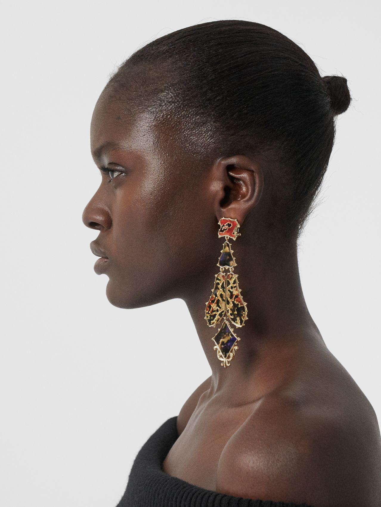 Resin and Gold-plated Drop Earrings in Light Gold/agata