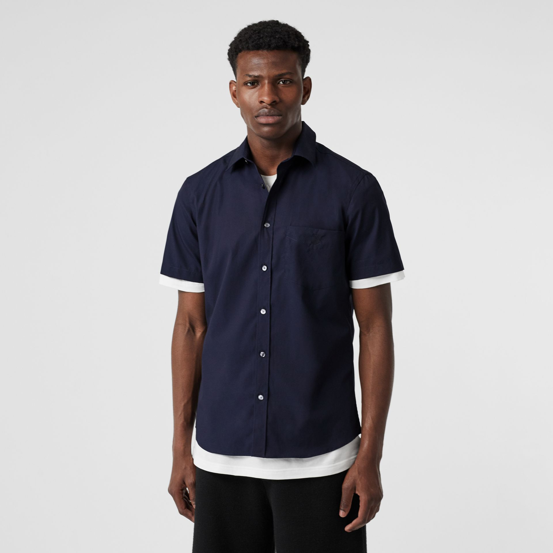 Short-sleeve Monogram Motif Stretch Cotton Shirt in Navy - Men | Burberry - gallery image 4