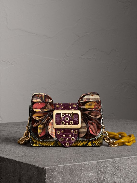 The Ruffle Buckle Bag in Snakeskin, Ostrich and Check in Natural