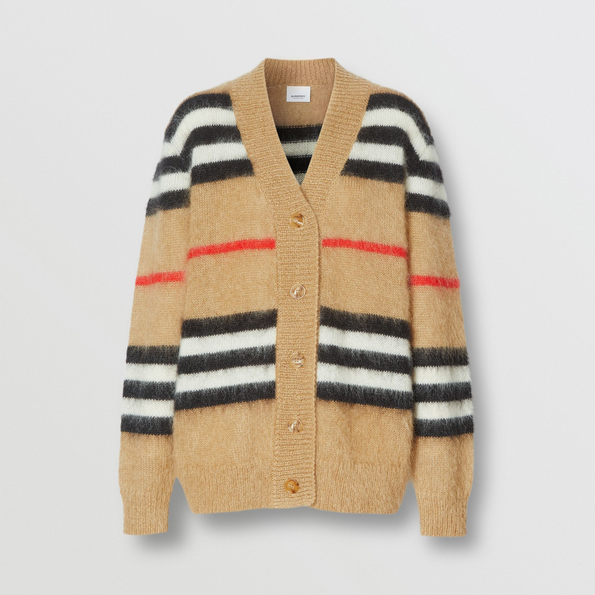 Icon Stripe Mohair Wool Blend Cardigan in Archive Beige - Women | Burberry - gallery image 3