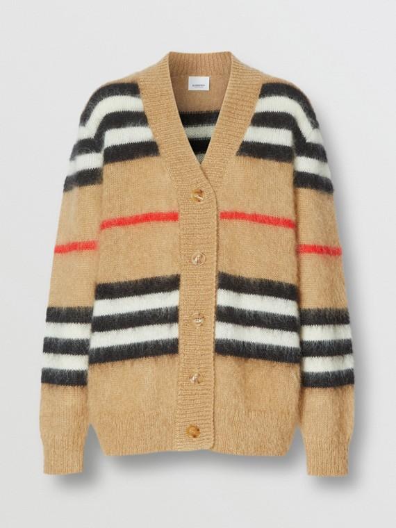 Icon Stripe Mohair Wool Blend Cardigan in Archive Beige