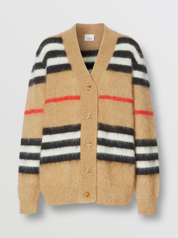 Icon Stripe Mohair Wool Blend Cardigan in Archive Beige - Women | Burberry - cell image 3