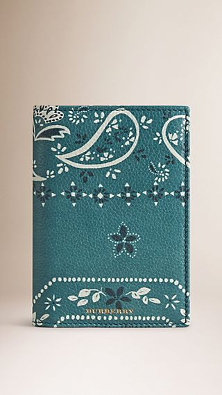 Paisely Print Grainy Leather Passport Cover