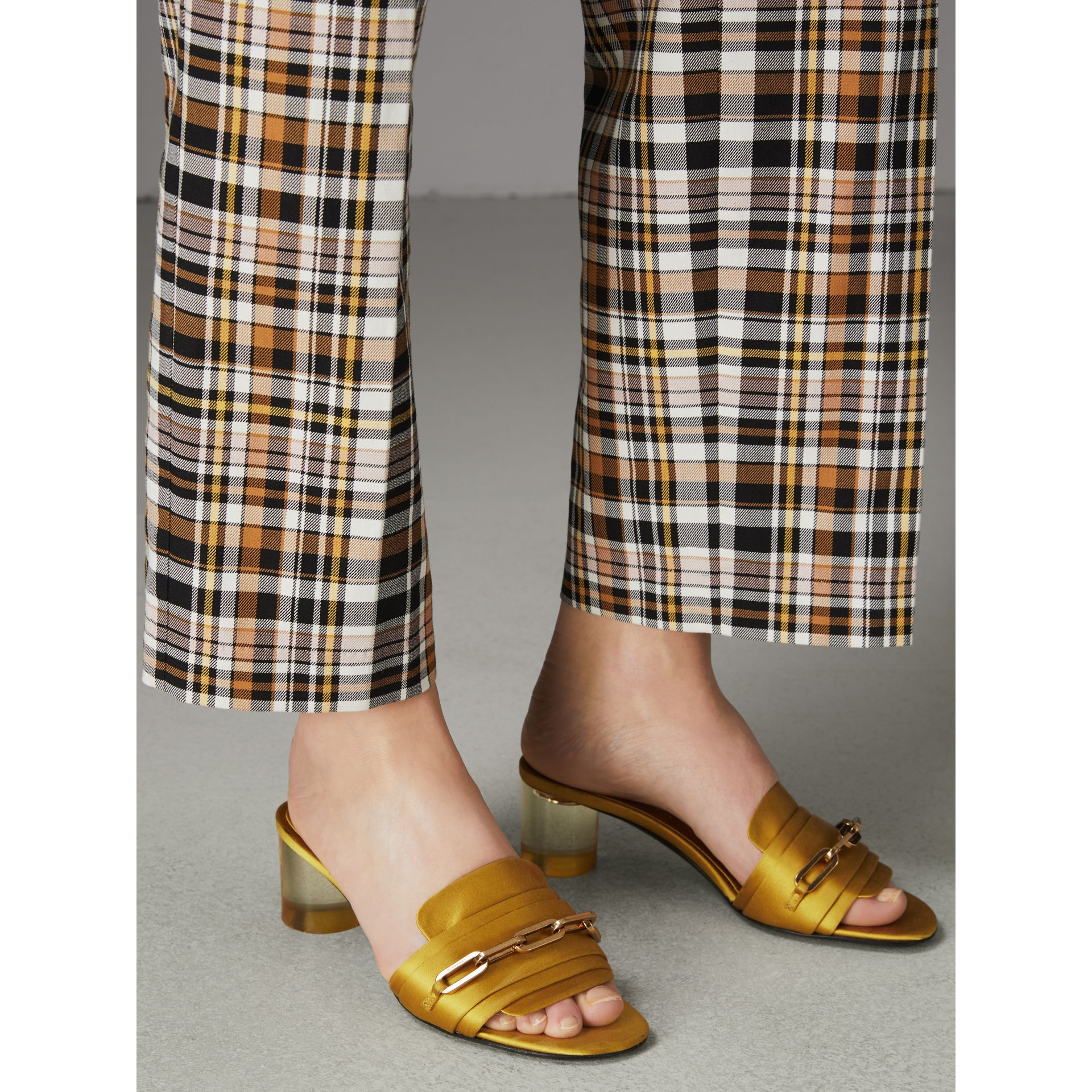Link Detail Satin Heeled Slides in Antique Yellow - Women | Burberry - gallery image 2