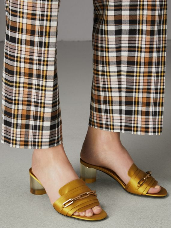 Link Detail Satin Heeled Slides in Antique Yellow - Women | Burberry United Kingdom - cell image 2