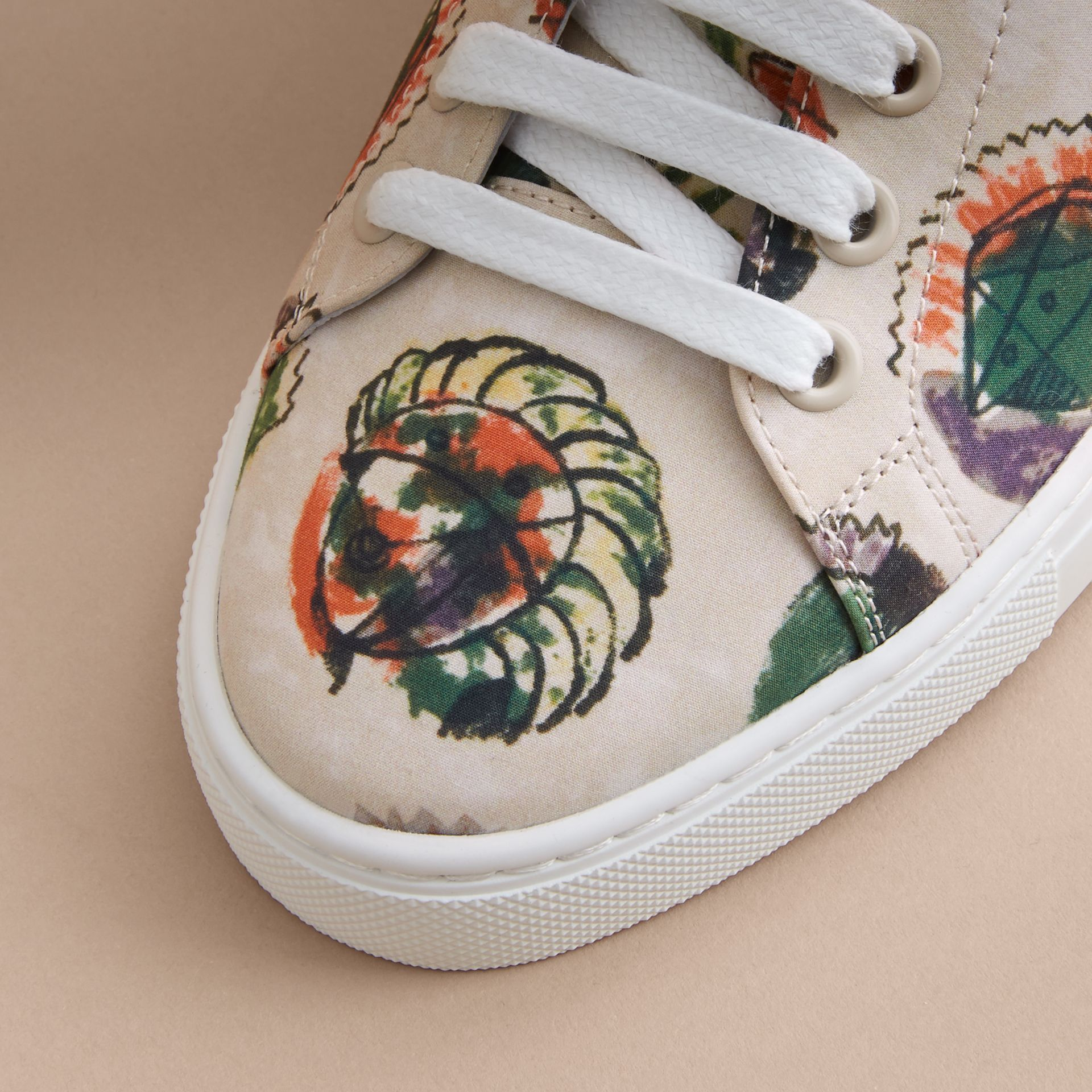 Pallas Heads Print Cotton Leather Trainers in Natural White - Men | Burberry - gallery image 5