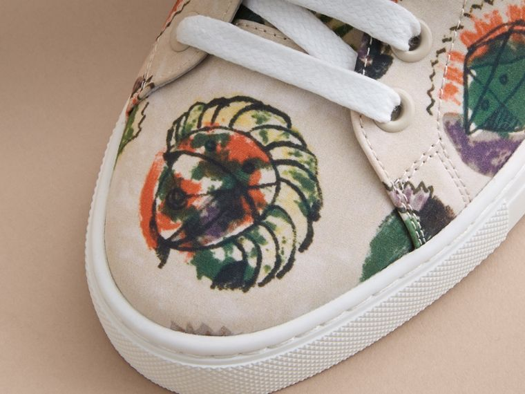 Pallas Heads Print Cotton Leather Trainers - cell image 4
