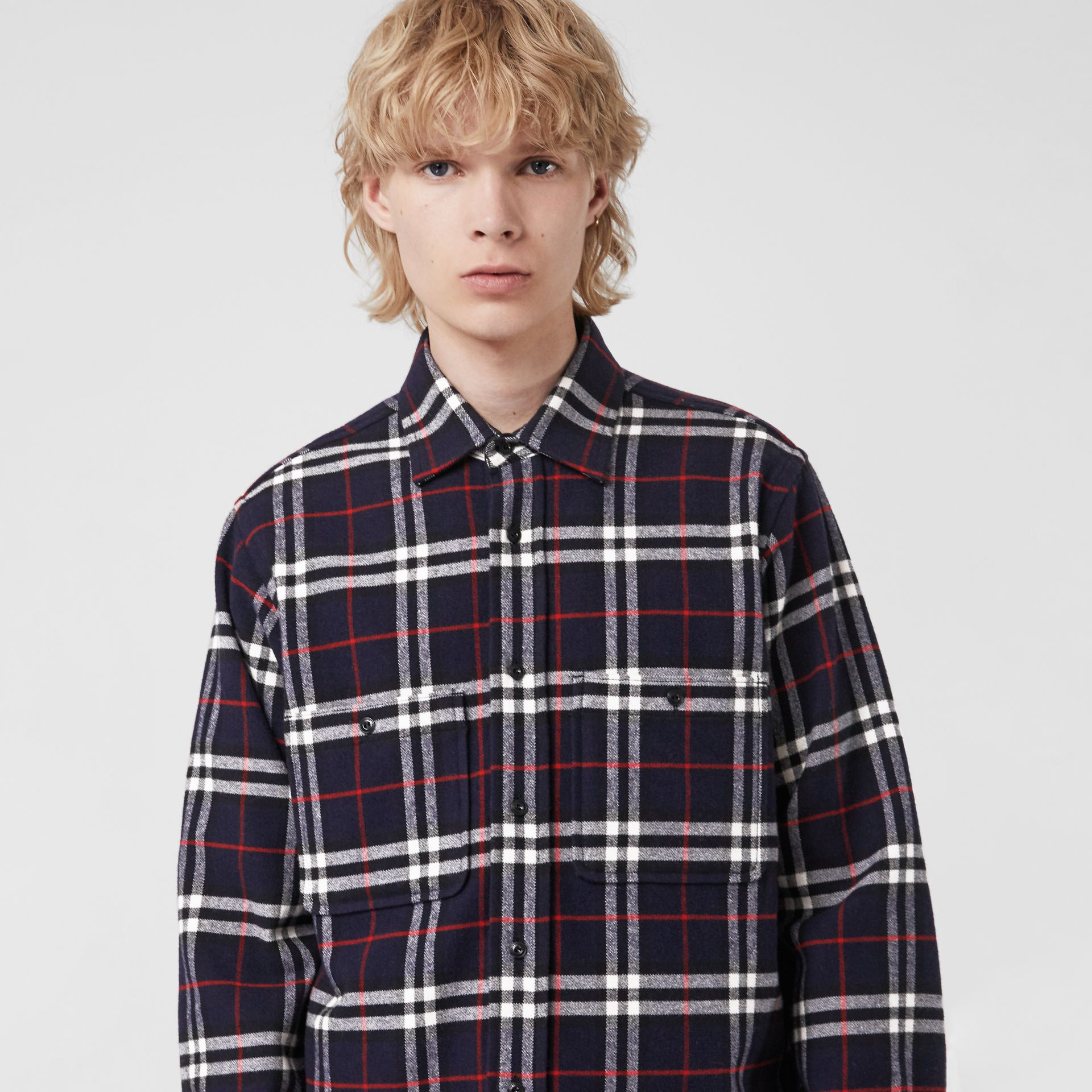 Check Cotton Flannel Shirt in Navy - Men | Burberry - gallery image 1