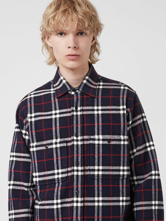 Check Cotton Flannel Shirt in Navy - Men | Burberry - cell image 1