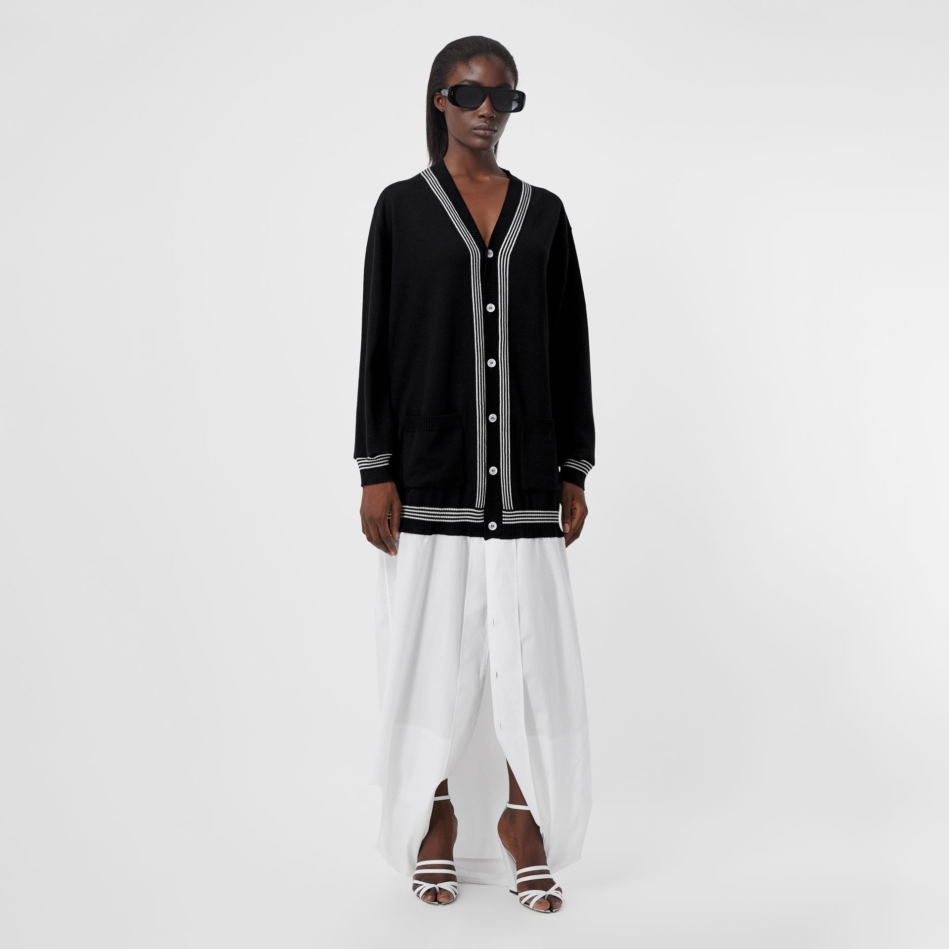 Wool Cardigan Detail Cotton Shirt in Black - Women | Burberry - gallery image 6