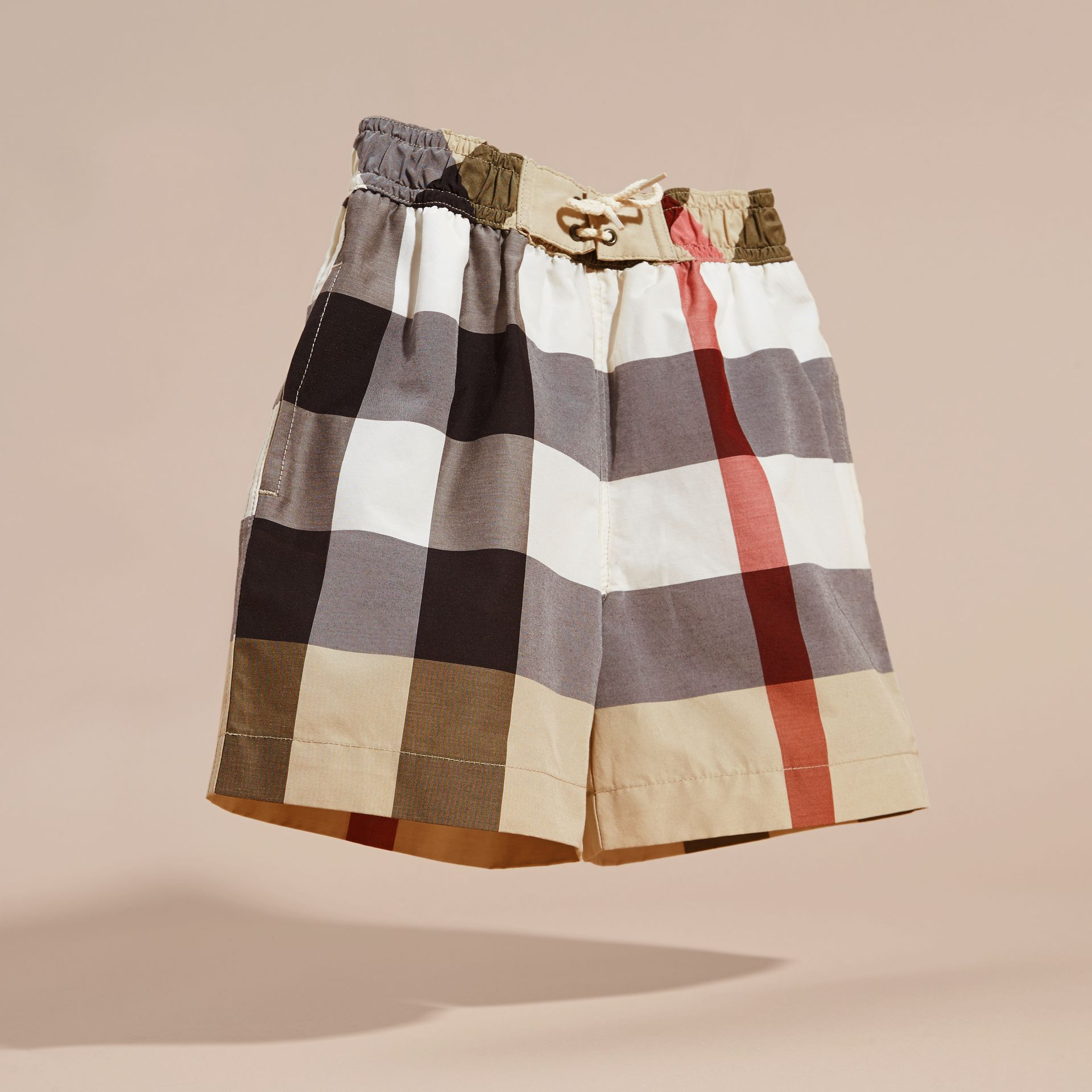 Check Technical Cotton Swim Shorts - Boy | Burberry Australia - gallery image 3