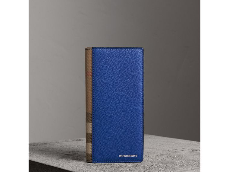 House Check and Grainy Leather Continental Wallet in Deep Blue - Men | Burberry Australia - cell image 4