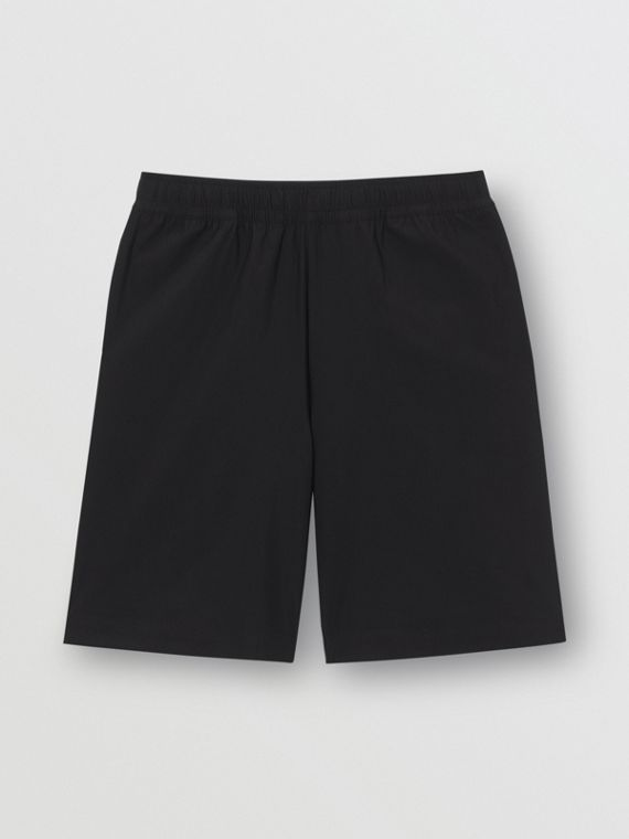 Bermuda de nylon stretch com estampa de logotipo (Preto)