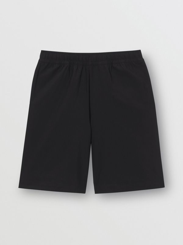 Logo Print Stretch Nylon Shorts in Black - Men | Burberry - cell image 3