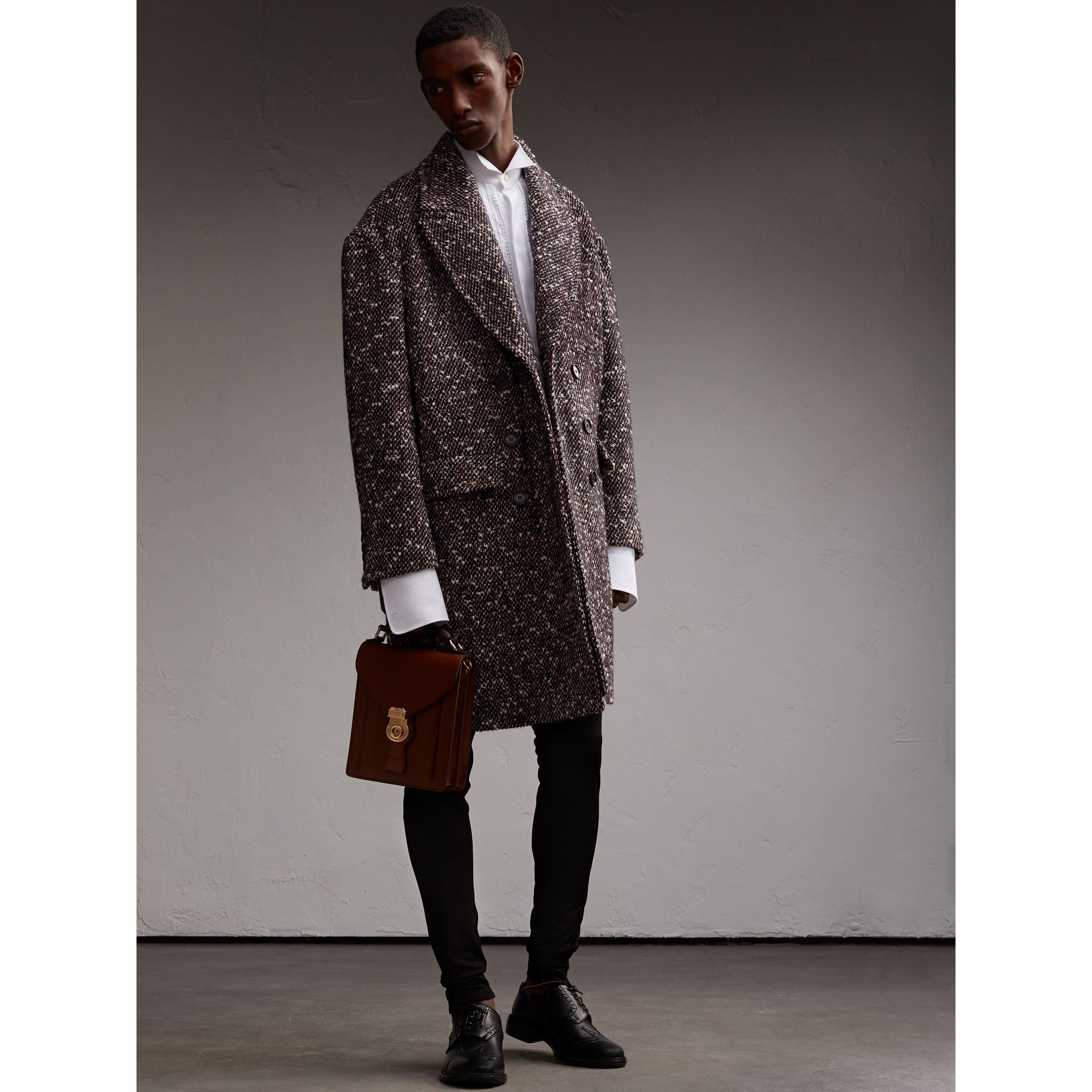Wool Mohair Blend Tweed Topcoat - Men | Burberry - gallery image 6