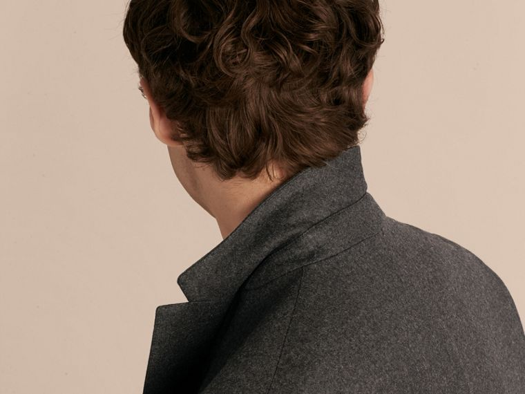 Dark grey melange Modern Fit Tailored Wool Jacket - cell image 4