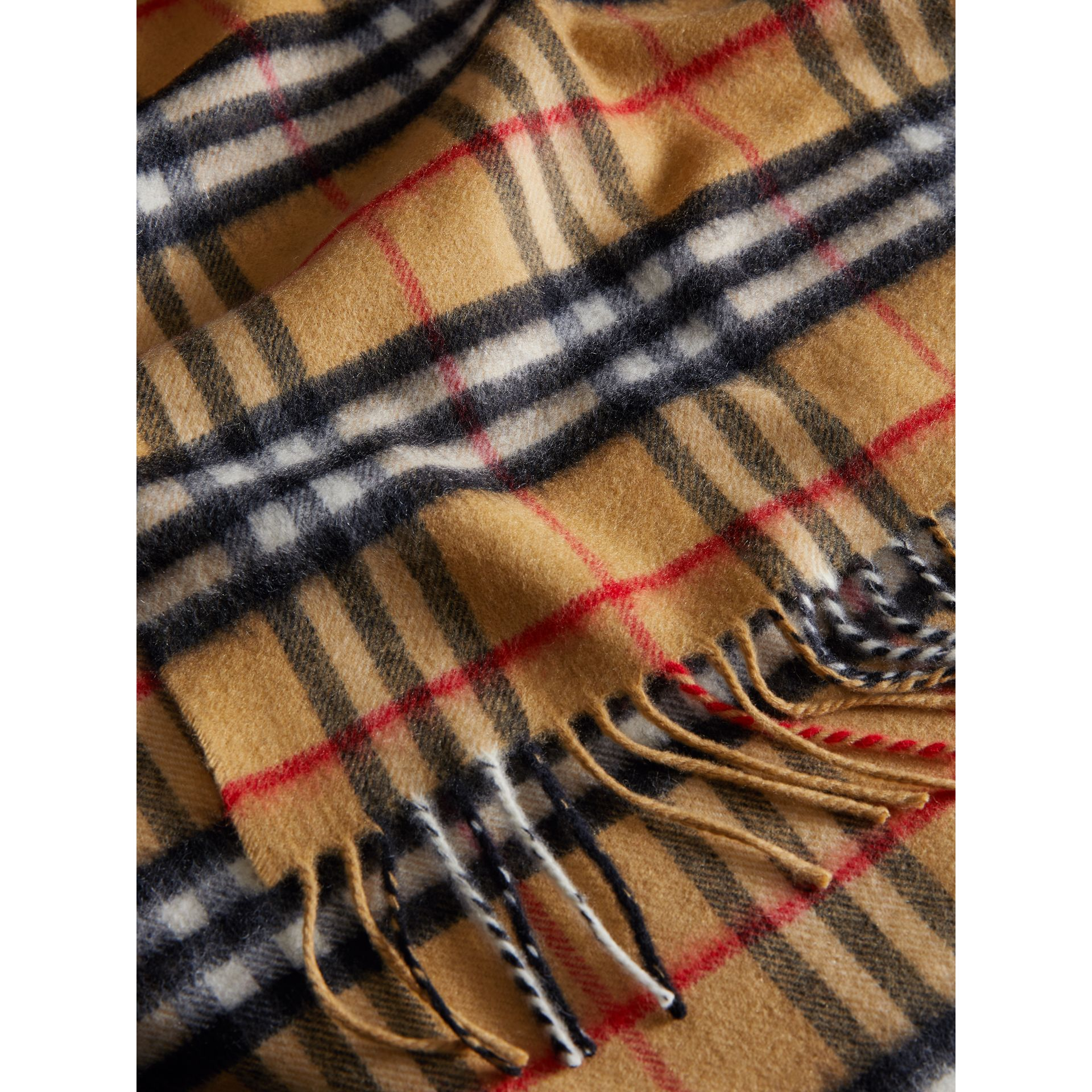 The Classic Vintage Check Cashmere Scarf in Antique Yellow | Burberry United States - gallery image 4