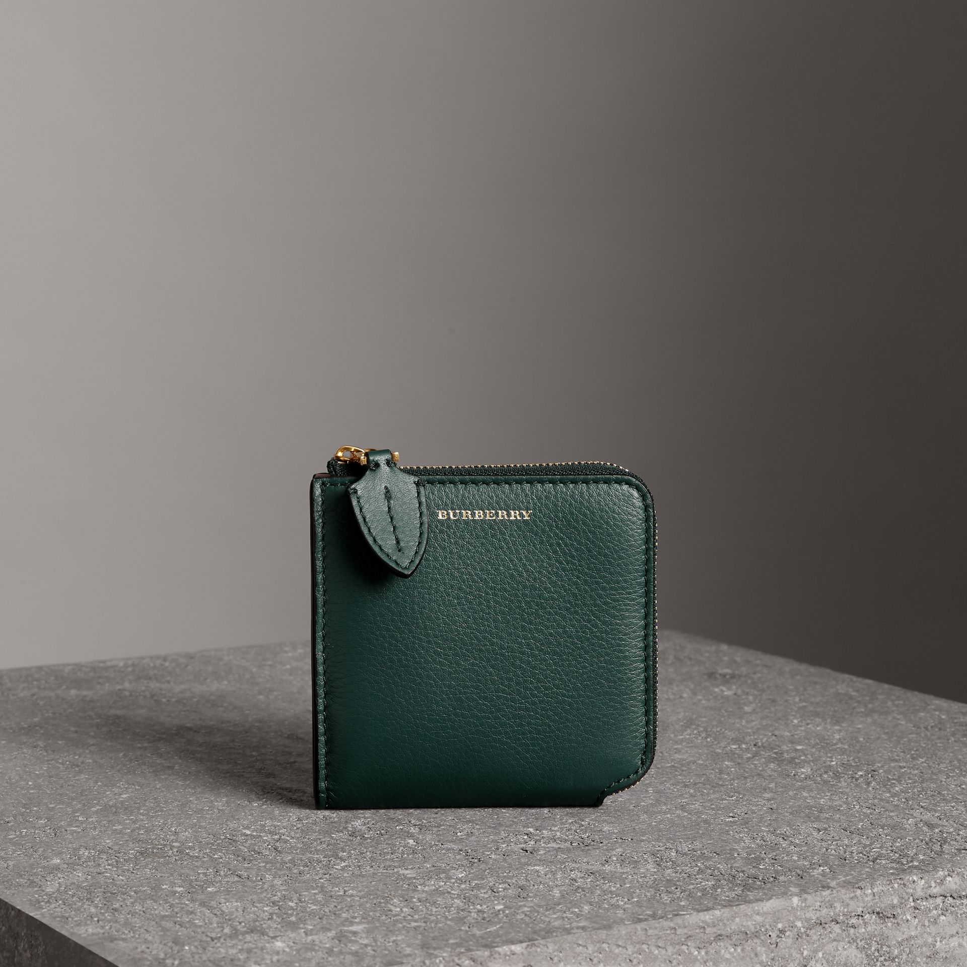 Grainy Leather Square Ziparound Wallet in Dark Cyan - Women | Burberry Singapore - gallery image 0