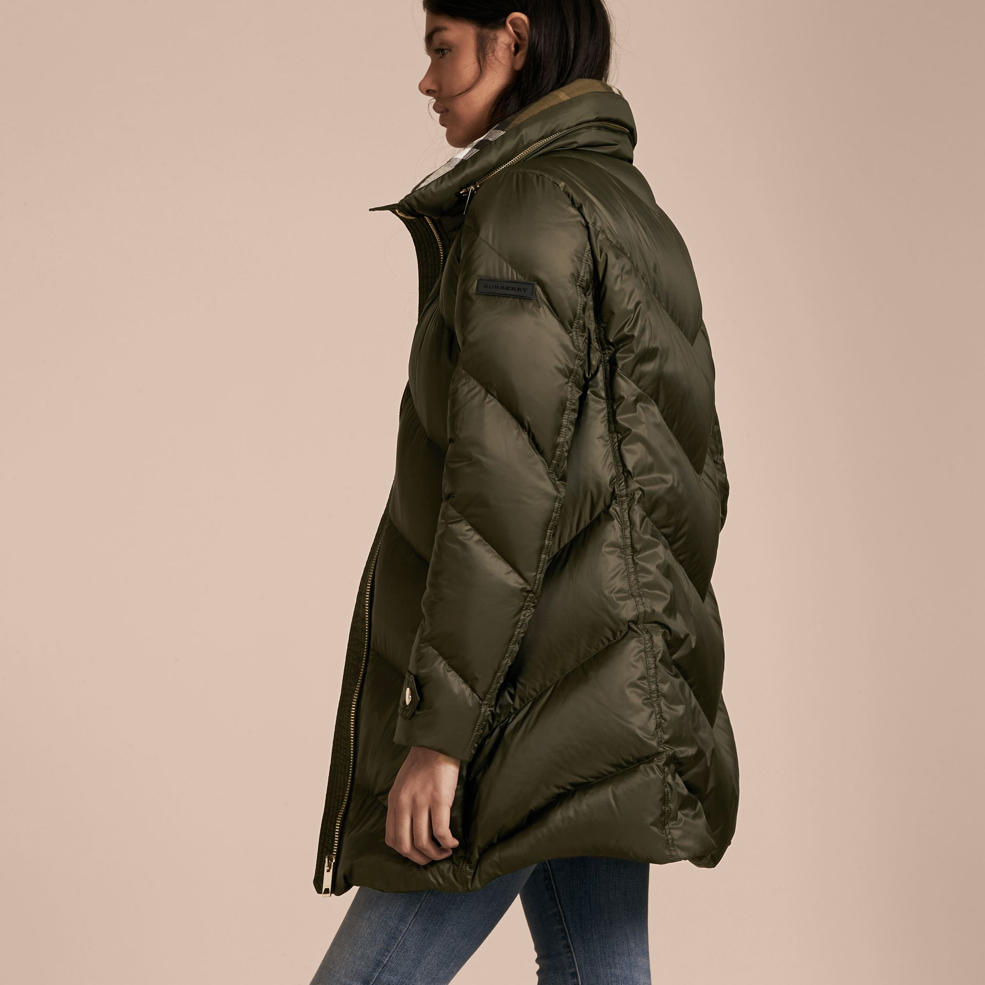 Chevron-quilted Down-filled Coat in Olive - Women | Burberry - gallery image 3