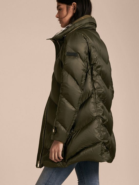 Chevron-quilted Down-filled Coat in Olive - Women | Burberry - cell image 2