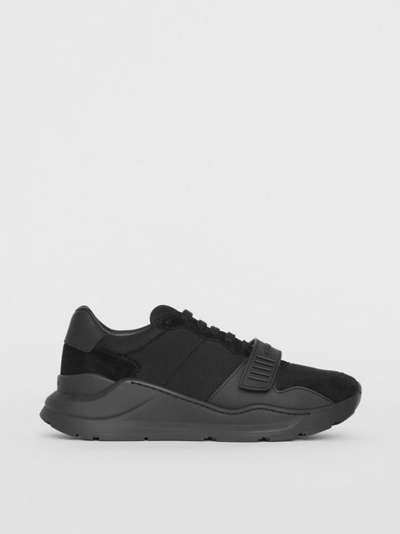 Suede, Neoprene and Leather Sneakers in Black