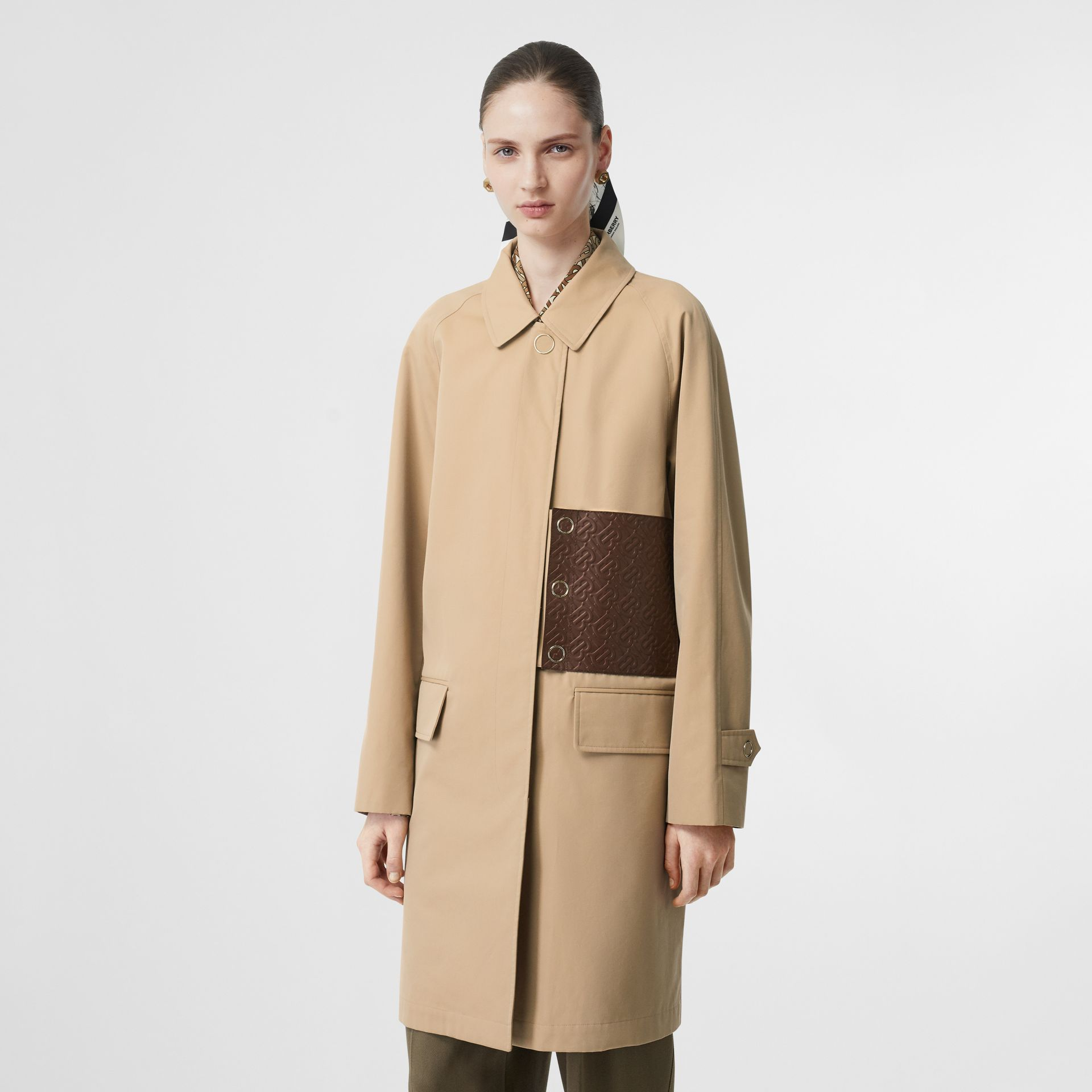 Monogram Leather Detail Cotton Gabardine Car Coat in Honey - Women | Burberry - gallery image 5