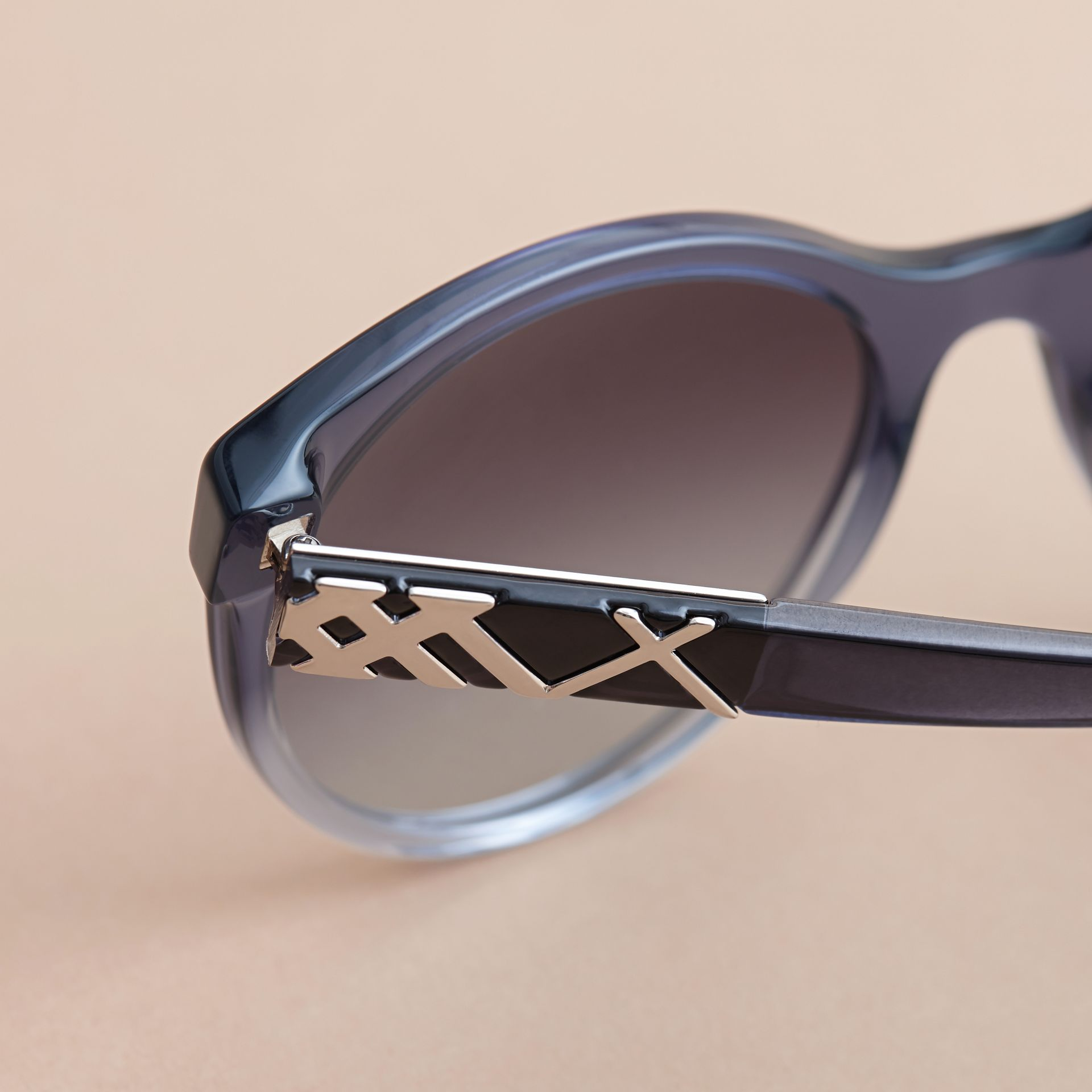 Check Detail Round Frame Sunglasses Blue - gallery image 2