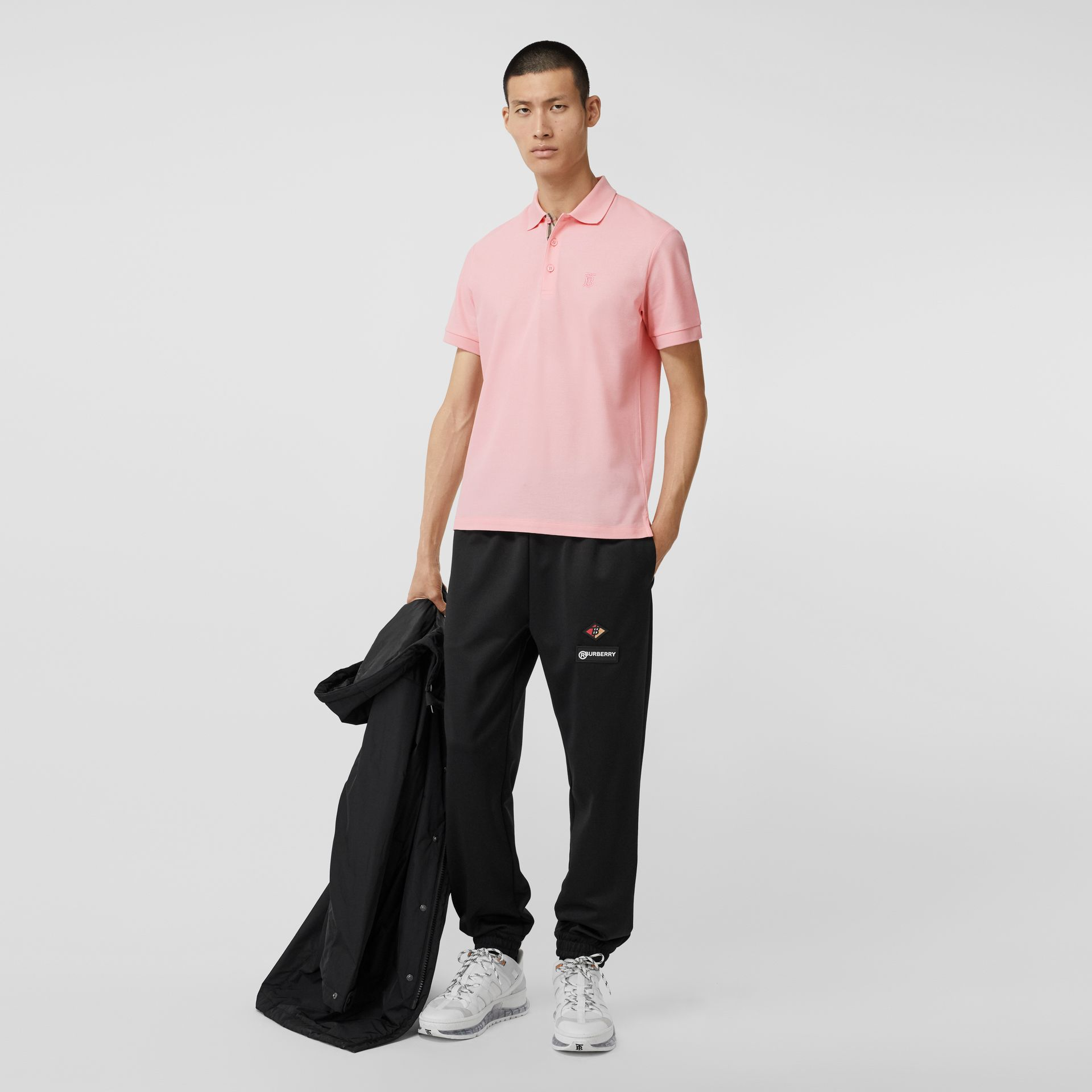 Monogram Motif Cotton Piqué Polo Shirt in Candy Pink - Men | Burberry - gallery image 0