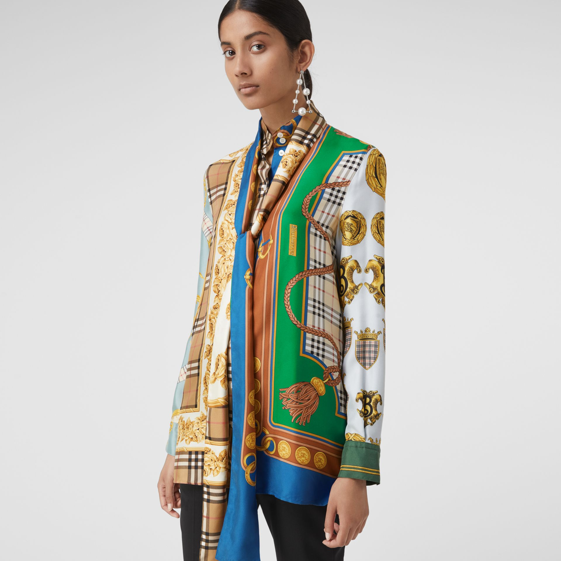 Archive Scarf Print Silk Tie-neck Shirt in Multicolour - Women | Burberry - gallery image 0