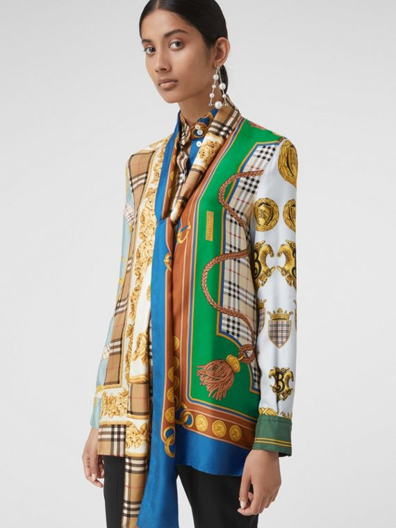 Archive Scarf Print Silk Tie-neck Shirt in Multicolour