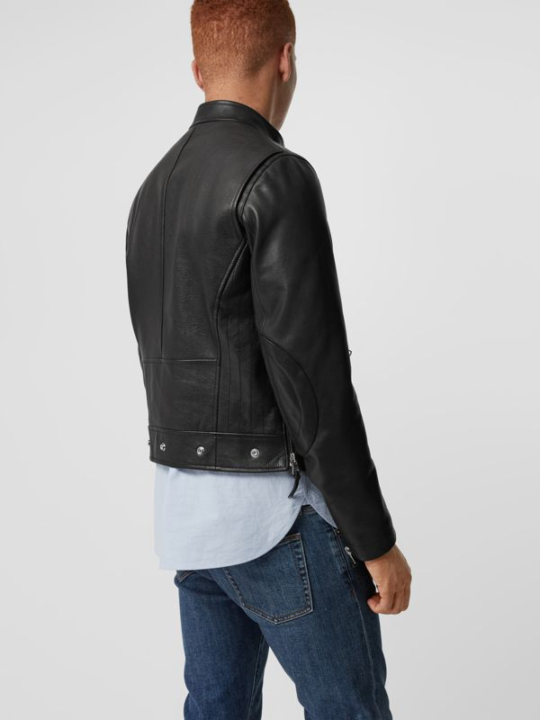 Zip Detail Leather Jacket in Black - Men | Burberry - cell image 2